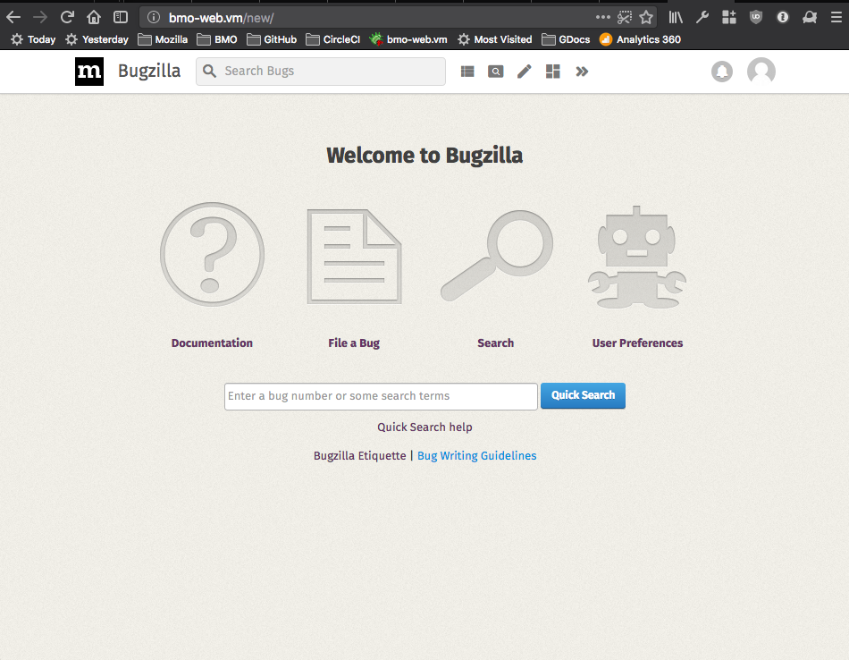 A screenshot showing the bugzilla.mozilla.org homepage as rendered by mojolicious